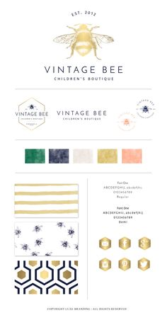 Hello and welcome to Luxe Branding. Thank you for considering me and trusting me to do what I love to do. Each brand is hand created taking special care to create a brand that allows for growth as you branding needs change. ***ABOUT THIS BRAND***  Vintage Bee is a vintage inspired brand featuring a hand drawn bumblebee, circa 1850s, paired with a classic font. This brands works well with a variety of different businesses and pairs well with metallics accents. The color palette and color…