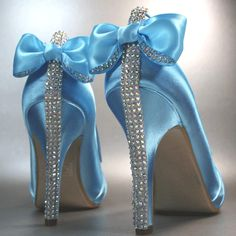 Blue Wedding Shoes with Bows