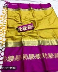 Description: It has 1 Piece of Saree With 1 Blouse Piece Fabric: Saree: Cotton Silk, Blouse: Cotton Silk Length: Saree : mtr, Blouse: mtr Work: Saree: Zari Border and Jhalar, Blouse: Zari Border Purple Saree, Yellow Saree, Soft Silk Sarees, Cotton Saree, Sari Silk, Cotton Silk Fabric, Designer Silk Sarees, Latest Sarees, Banarasi Sarees