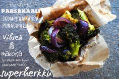 Tunnustus: olen koukussa parsakaaliin. Varoitus: kohta olet sinäkin.    Minulla ei ole kauniita kuvia suostuttelemaan sinua parsakaalin ystäväksi. Falafel, Gluten Free Recipes, Free Food, Cabbage, Mexican, Favorite Recipes, Meals, Vegetables, Healthy