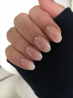 More subtle, oval shaped baby boomer nails!