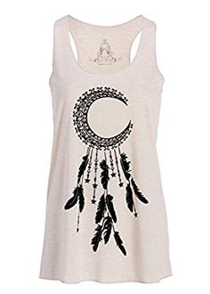 Amazon.com: Womens Crescent Moon Dream Catcher Loose Fit Tank Top Muscle Tee: Clothing