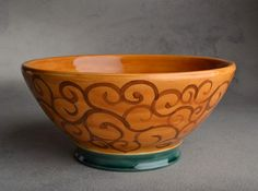 Bowl Brown and Green Swirl Bowl by by symmetricalpottery on Etsy, $40.00