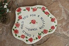 Ring Dish with roses and verse, ceramic jewelry storage - Wedding table decor (*Amazon Partner-Link)