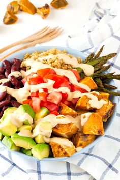 A Buddha Bowl is a bowl which is packed so full that it has a rounded belly appearance on the top much like the belly of a Buddha. Its usually made with simple pure food and enjoyed with deep gratitude.