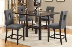 5 PC Poundex Counter Height Table Set with Blue Grey Key-Hole Chairs F2310