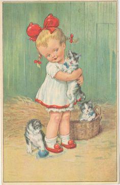 Vintage children's book illustration....Little girl with sweet kittens.