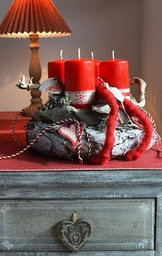 Red and white grey advent wreath by laverandadecor on etsy