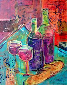 Wine Art Collage Painting Original Modern Art Wine Bottles and Wine Glasses FREE Shipping- 11x14 - by Filomena Booth