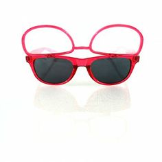 Transparent red sun glasses with flip up diffraction lenses now on sale!