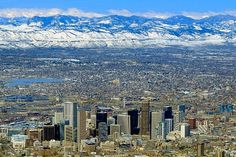 Denver Colorado Rocky Mountains | Aerial photo of Denver, Denver, Colorado, CO United States