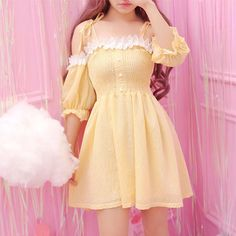 Dolly girl's fashion style, a dream store for sweet fashion lovers! Mode Outfits, Korean Outfits, Dress Outfits, Girl Outfits, Fashion Dresses, Kawaii Dress, Kawaii Clothes, Kawaii Outfit, Pretty Outfits
