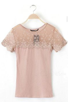 Lovely Patchwork Round Neckline Short Sleeves Lace T-shirt, Round