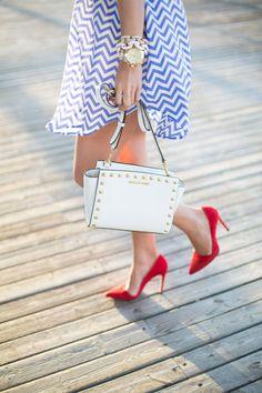 gold + bliue outfit Shop Sosie Zig Zag Dress // Alice + Olivia Dina Pumps // Michael Kors Selma Handbag // Ray-Ban Mirrored Blue Sunglasses ...