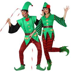Pareja Elfos de Navidad #disfracesnavidad #disfracesnavideños