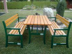 Gartengarnitur aus Aluminium mit Holz Outdoor Furniture Sets, Outdoor Decor, Backyards, Aluminium, Patio, Home Decor, Projects, Timber Wood, Decoration Home