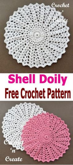 Crochet shell doily, free crochet pattern, make for your tables and tops around your home. #crochetncreate #crochetdoily #freecrochetpatterns
