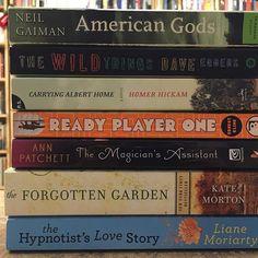 New arrivals: fiction #thebookodyssey #usedbookstore #atascadero #slocounty #sanluisobispo #americangods #neilgaiman #thewildthings #daveeggers #carryingalberthome #homerhickam #readyplayerone #ernestcline #annpatchett #theforgottengarden #katemorton #thehypnotistslovestory #lianemoriarty #fiction #books