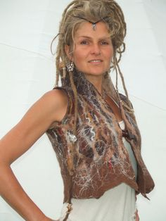 woodland pixie nuno felt merino brown vest waistcoat. $150.00, via Etsy.