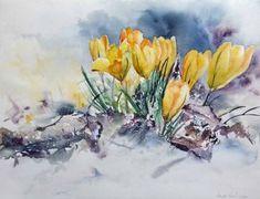 Geschafft (c) Krokuss Aquarell von Hanka Koebsch Watercolor And Ink, Watercolour Painting, Watercolor Flowers, Painting & Drawing, Spring Painting, Botanical Art, Sculpture Art, Flower Art, Collages