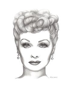 Lucy, Lucille Ball, Vintage Hollywood, Art Print by Wendy Hogue Berry Celebrity Drawings, Celebrity Portraits, Lucille Ball, Pencil Art, Pencil Drawings, Horse Drawings, I Love Lucy, My Love, Lucy Lucy