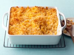 Alton Brown's Baked Macaroni and Cheese from FoodNetwork.  I made this last night, but instead of topping w/Panko crumbs, I crushed a dozen Ritz Town Crackers, mixed w/2 TBSP butter.  I took it to a potluck, & came home with only a bit left in the bowl.