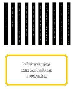 Kräuterstecker zum kostenlosen Ausdruck. (PDF zum Drucken im Text)