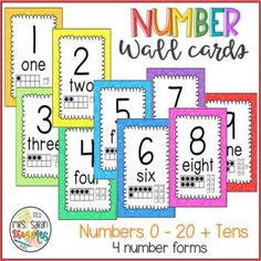 Colorful Number Wall Cards to bright up your classroom and Math lessons. Great display of numbers in a variety of forms. All cards have the numbers in standard form, word form, ten frame and base-ten blocks. It includes numbers 0-20 and the tens (30, 40, 50, 60, 70, 80, 90, 100). Numbers In Standard Form, Classroom Schedule Cards, Teaching Math, Maths, Base Ten Blocks, Growth Mindset Quotes, Math Words, First Grade Math, Math Resources