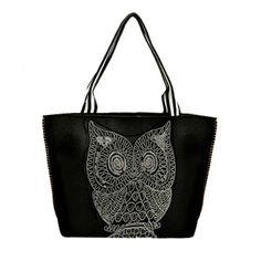 Fashion Owl Pattern and Zipper Design Women's Shoulder BagBags | RoseGal.com