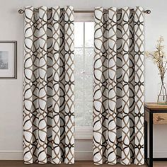 H.VERSAILTEX Thermal Insulated Blackout Grommet Curtain Drapes for Living inch Width by 84 inch Length-Set of 2 Panels-Taupe and Brown Geo Pattern – Best Decoration Club Cheap Curtains, Room Darkening Curtains, Velvet Curtains, Colorful Curtains, White Curtains, Grommet Curtains, Blackout Curtains, Drapes Curtains, Country Curtains
