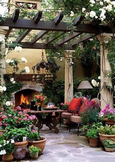 How romantic is this lovely pergola patio space? We love the use of potted plants and indoor accessories to truly make this an outdoor room! (patio ideas with pergola vines) Outdoor Rooms, Outdoor Gardens, Outdoor Living, Outdoor Decor, Outdoor Retreat, Outdoor Seating, Backyard Retreat, Indoor Outdoor, Outdoor Ideas