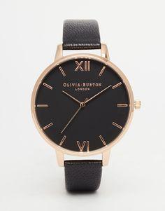 Olivia Burton Big Dial Black Face Rose Gold Plated Watch