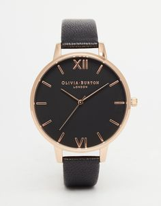 Image 1 of Olivia Burton Big Dial Black Face Rose Gold Plated Watch