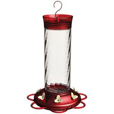 Garden Treasures Glass Hummingbird Feeder with Ant Guard - glass, holds 30 oz, 7 feeding perch ports, and top ant moat $16