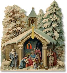 The Nativity. Vintage Christmas Images, Victorian Christmas, Christmas Pictures, Vintage Images, Christmas Manger, Christmas Crafts, Christmas Decorations, Christmas Ornaments, Images Noêl Vintages