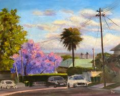 """""""Going home where jacaranda blossoms"""" by Shelly Du. Paintings for Sale. Buy Art Online, Going Home, Paintings For Sale, Online Art Gallery, Impressionism, Blossoms, Artwork, Aussies, Flowers"""