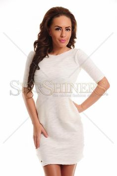 Fofy Loved Pleasure Nude Dress, with pockets, short sleeves, elastic fabric Nude Dress, Product Label, Shorts With Pockets, Trendy Colors, Female Bodies, Fall Outfits, Short Sleeves, Sexy, Casual