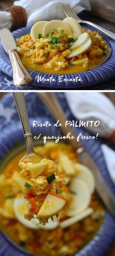 O palmito pupunha é a estrela deste Risoto de Palmito com Queijinho Fresco! Que tem  técnica  italiana com sotaque brasileiro. Resultado? Risoto leve, sofisticado, saudável e facílimo de preparar. Tão gostoso  que  merece ser protagonista no seu  próximo jantar.