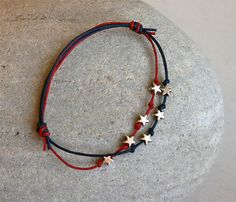 July 4th Stars Bracelet Star Anklet 24 colors of by greenduckweed, $8.50