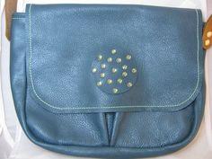 Leather+Shoulder+Bag+Green/Blue