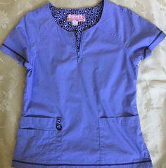 Koi Limited Edition S Scrub Top Blue with Animal Print Short Sleeves Zip Neck #Koi