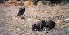 Sudanese child being stalked by a vulture nearby. It is quite obvious that the child was starving to death, while the vulture was patiently waiting for the toddler to die so he can have a good meal. Nobody knows what happened to the child, who crawled his way to a United Nations food camp. Photographer Kevin Carter won a Pulitzer Prize for this shocking picture, but he eventually committed suicide three months after he took the shot.