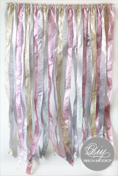 also love this super duper simple diy ribbon backdrop for a wedding ceremony, behind a dessert table, etc. wedding-walls-and-ceilings-decoration-ideas Cute Wedding Dress, Fall Wedding Dresses, Perfect Wedding, Diy Wedding, Wedding Events, Dream Wedding, Wedding Day, Weddings, Wedding Ceremony
