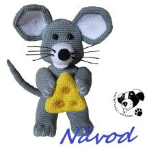 Myšáček se sýrem - návod na háčkování Tweety, Origami, Diy And Crafts, Crochet Hats, Teddy Bear, Toys, Animals, Character, Knitting Hats