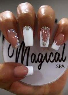 Elegant Nails, Classy Nails, Cute Nails, Gold Glitter Nails, Bling Nails, Square Nail Designs, Nail Art Designs, Perfect Nails, Gorgeous Nails