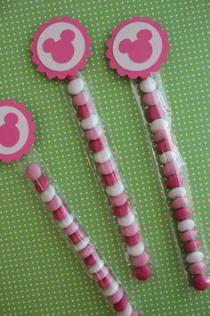 12x Minnie Mouse Candy Favor Tubes  by MyPrettyLittleParty on Etsy, $15.00