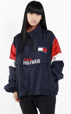 "Vintage Tommy Hilfiger windbreaker jacket MeasurementsSize on tag: LPit to Pit: 26"" Arm: 33""Length: 26"" Condition: Good vintage condition"
