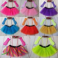Fashion 80's Neon UV Adult Tutu Skirt  Beads Hen Fancy Dress Party Costumes 3Pcs
