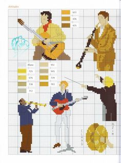 Musicians and their instruments Cross Stitch Music, Cross Stitch Cards, Cross Stitching, Dmc Embroidery Floss, Cross Stitch Embroidery, Cross Stitch Patterns, Cross Stitch Collection, Charts And Graphs, Pixel Art
