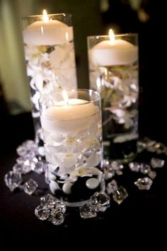 Ideas white flower white wedding floating candles wedding ideas center